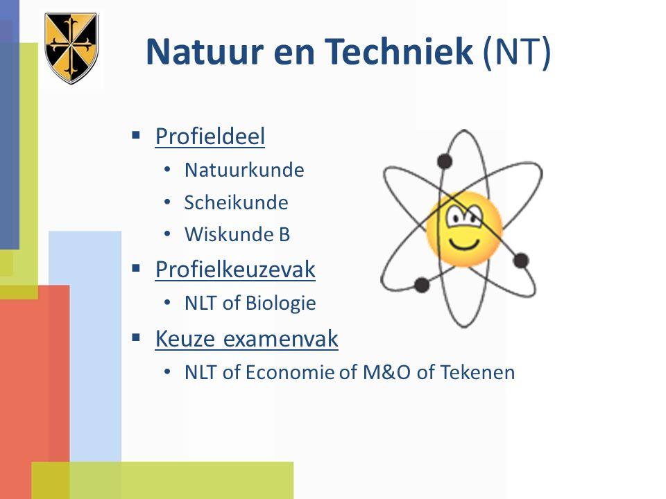 Natuur en Techniek (NT)  Profieldeel Natuurkunde Scheikunde Wiskunde B  Profielkeuzevak NLT of Biologie  Keuze examenvak NLT of Economie of M&O of
