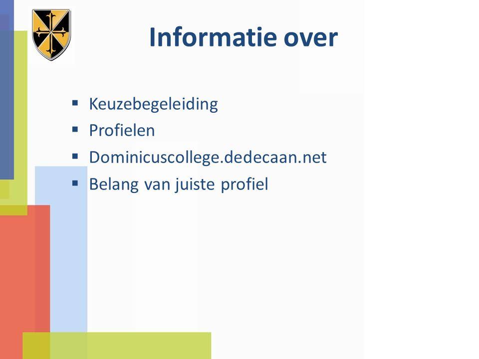 Informatie over  Keuzebegeleiding  Profielen  Dominicuscollege.dedecaan.net  Belang van juiste profiel