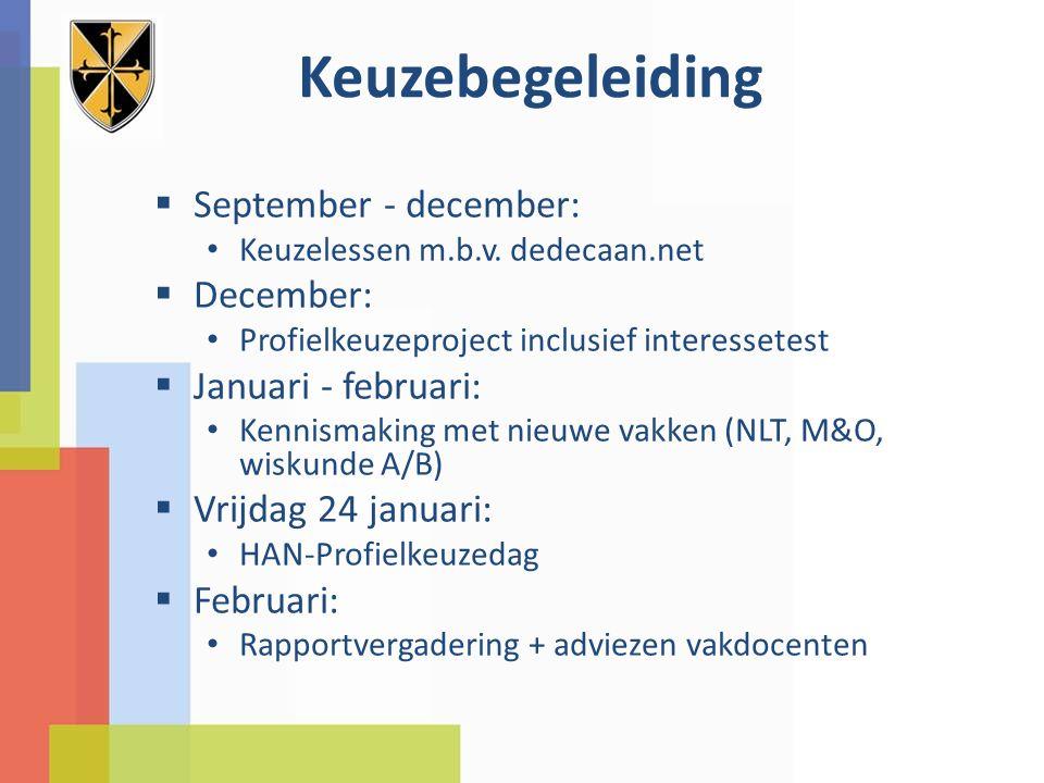 Keuzebegeleiding  September - december: Keuzelessen m.b.v. dedecaan.net  December: Profielkeuzeproject inclusief interessetest  Januari - februari: