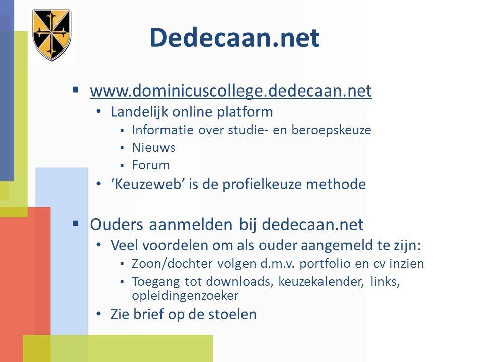 Dedecaan.net  www.dominicuscollege.dedecaan.net Landelijk online platform  Informatie over studie- en beroepskeuze  Nieuws  Forum 'Keuzeweb' is de