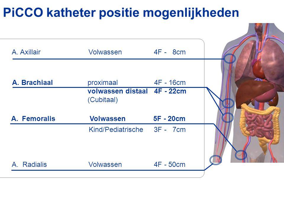 PiCCO katheter positie mogenlijkheden A.Radialis Volwassen4F - 50cm A. Axillair Volwassen4F - 8cm Kind/Pediatrische3F - 7cm A. Brachiaalproximaal 4F -