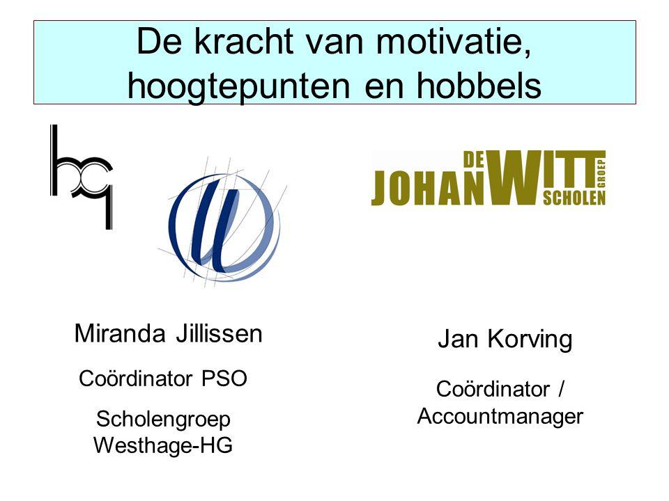De kracht van motivatie, hoogtepunten en hobbels Miranda Jillissen Coördinator PSO Scholengroep Westhage-HG Jan Korving Coördinator / Accountmanager