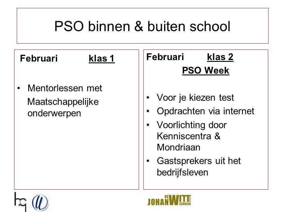 PSO binnen & buiten school Februari klas 1 Mentorlessen met Maatschappelijke onderwerpen Februari klas 2 PSO Week Voor je kiezen test Opdrachten via i