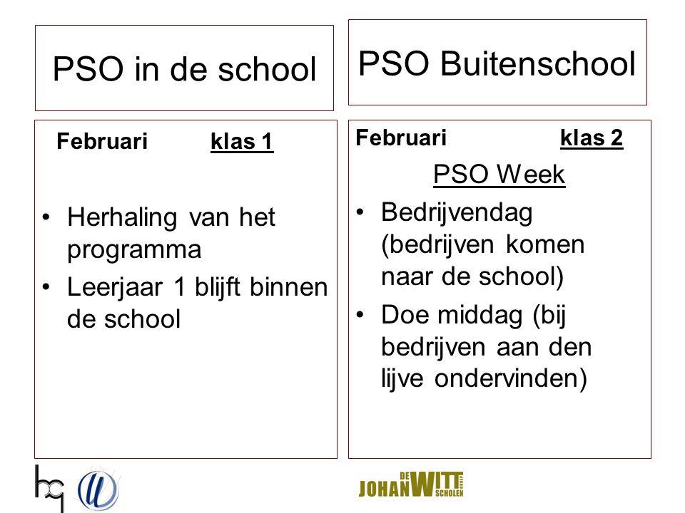 PSO Buitenschool Februari klas 1 Herhaling van het programma Leerjaar 1 blijft binnen de school Februari klas 2 PSO Week Bedrijvendag (bedrijven komen