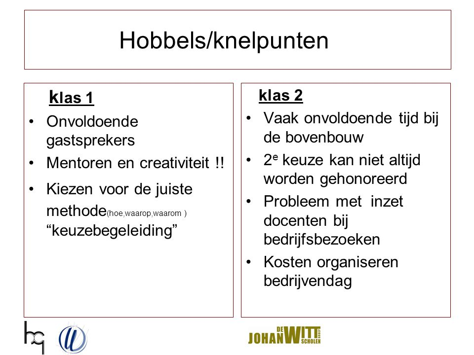 """Hobbels/knelpunten k las 1 Onvoldoende gastsprekers Mentoren en creativiteit !! Kiezen voor de juiste methode (hoe,waarop,waarom ) """"keuzebegeleiding"""""""