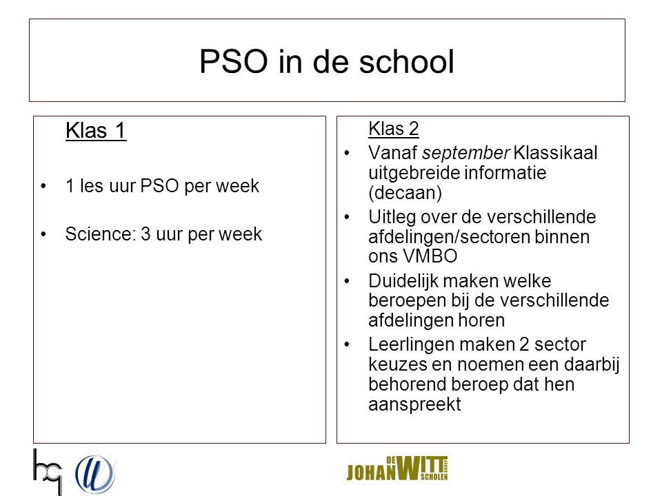 PSO in de school Klas 1 1 les uur PSO per week Science: 3 uur per week Klas 2 Vanaf september Klassikaal uitgebreide informatie (decaan) Uitleg over d