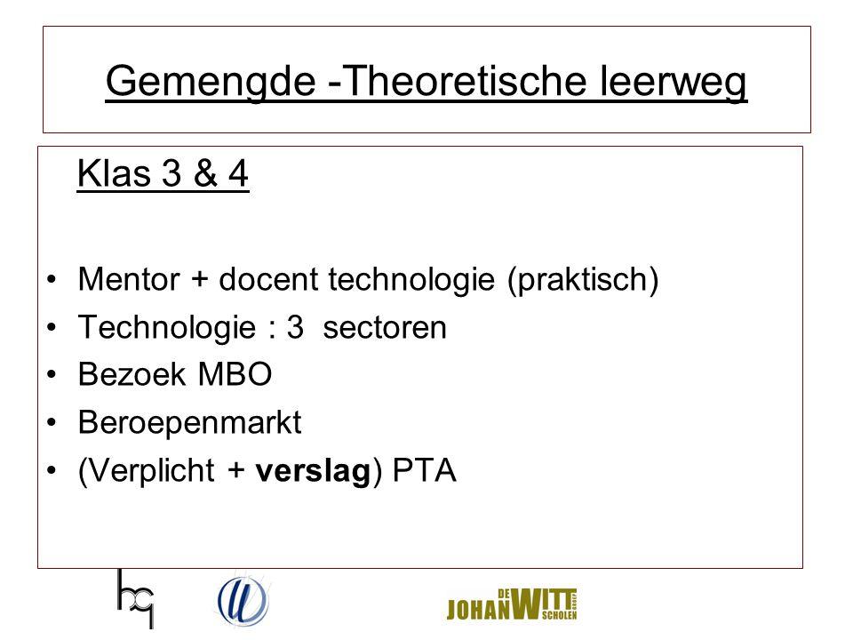 Gemengde -Theoretische leerweg Klas 3 & 4 Mentor + docent technologie (praktisch) Technologie : 3 sectoren Bezoek MBO Beroepenmarkt (Verplicht + versl