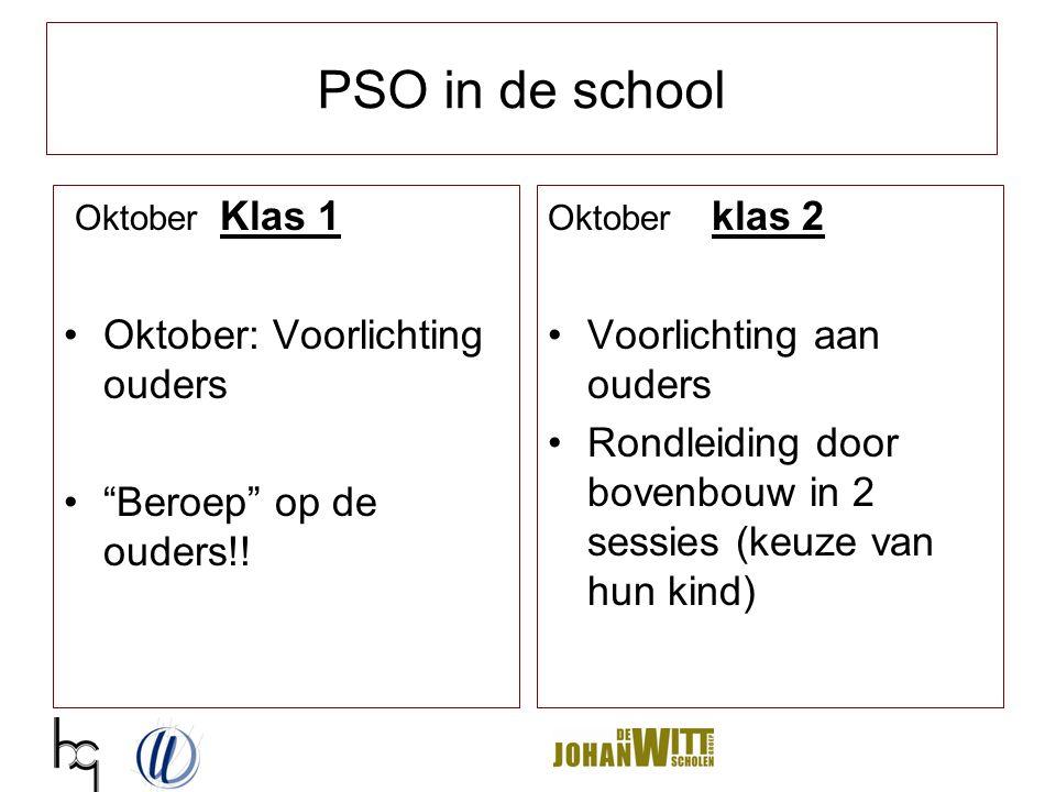 """PSO in de school Oktober Klas 1 Oktober: Voorlichting ouders """"Beroep"""" op de ouders!! Oktober klas 2 Voorlichting aan ouders Rondleiding door bovenbouw"""