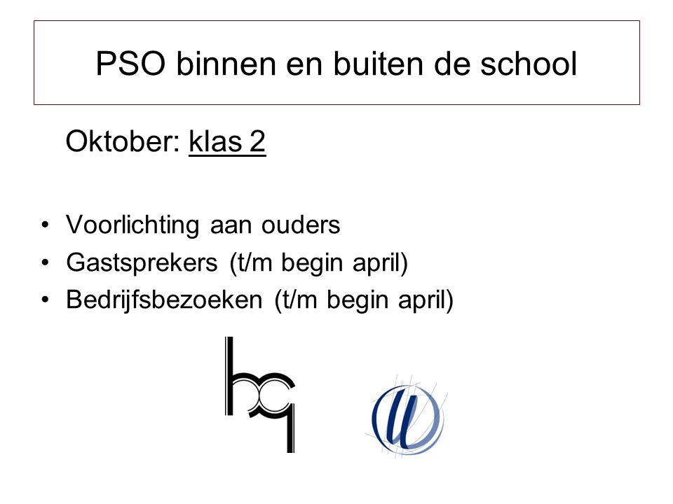 Oktober: klas 2 Voorlichting aan ouders Gastsprekers (t/m begin april) Bedrijfsbezoeken (t/m begin april) PSO binnen en buiten de school