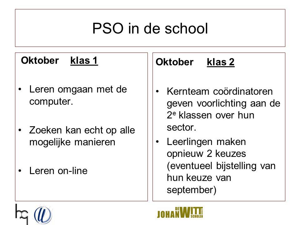 PSO in de school Klas 1 November/december Herhaling van programma Projectweek Klas 2 November/december Leerlingen bezoeken bovenbouw van hun 1 e & 2 e keuze Voeren een opdracht/prestatie uit