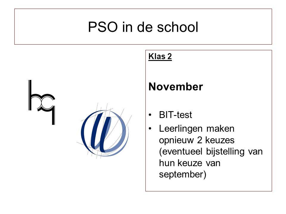 Klas 2 November BIT-test Leerlingen maken opnieuw 2 keuzes (eventueel bijstelling van hun keuze van september) PSO in de school