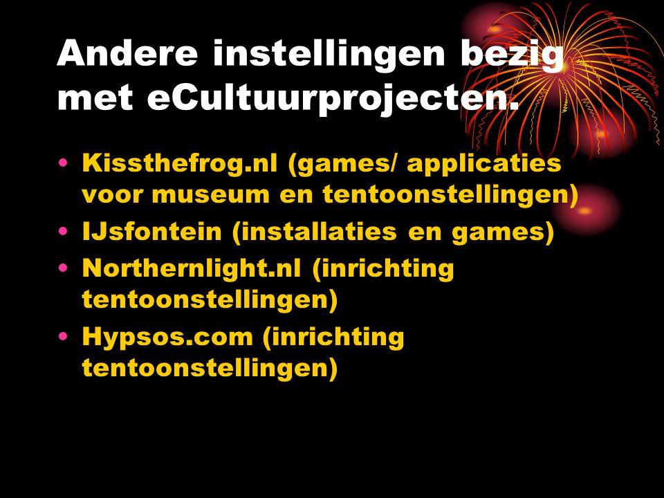 Andere instellingen bezig met eCultuurprojecten. Kissthefrog.nl (games/ applicaties voor museum en tentoonstellingen) IJsfontein (installaties en game