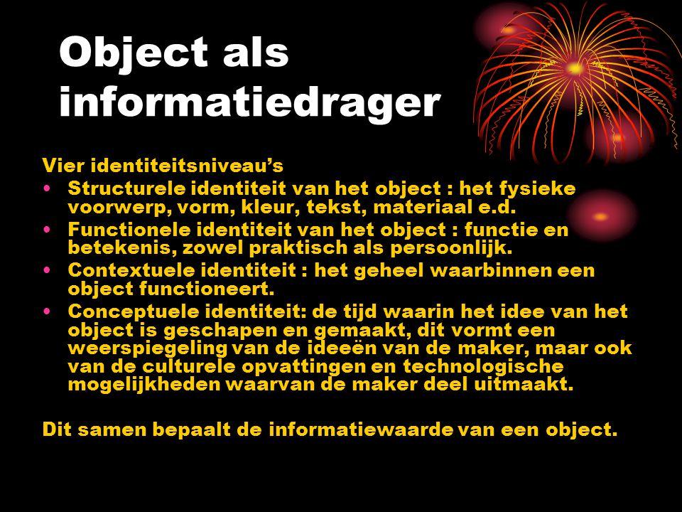 Object als informatiedrager Vier identiteitsniveau's Structurele identiteit van het object : het fysieke voorwerp, vorm, kleur, tekst, materiaal e.d.