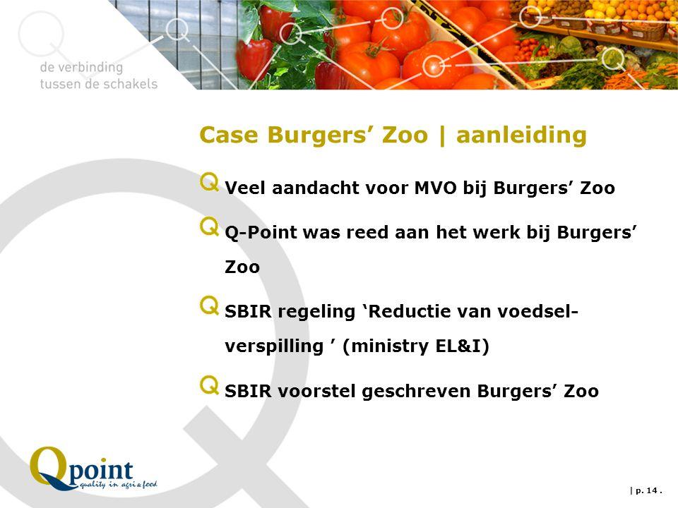 Case Burgers' Zoo | aanleiding Veel aandacht voor MVO bij Burgers' Zoo Q-Point was reed aan het werk bij Burgers' Zoo SBIR regeling 'Reductie van voedsel- verspilling ' (ministry EL&I) SBIR voorstel geschreven Burgers' Zoo | p.