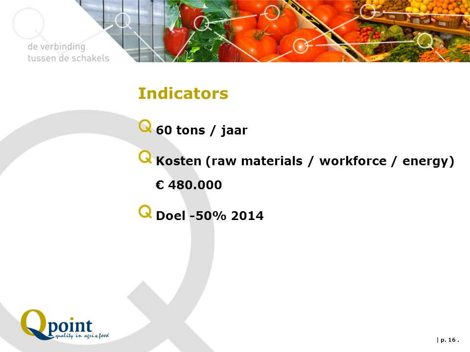 Indicators 60 tons / jaar Kosten (raw materials / workforce / energy) € 480.000 Doel -50% 2014 | p. 16.