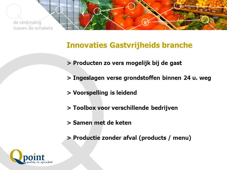 Innovaties Gastvrijheids branche > Producten zo vers mogelijk bij de gast > Ingeslagen verse grondstoffen binnen 24 u. weg > Voorspelling is leidend >