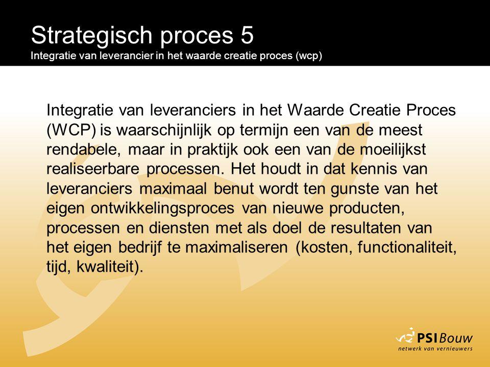 Strategisch proces 5 Integratie van leverancier in het waarde creatie proces (wcp) Integratie van leveranciers in het Waarde Creatie Proces (WCP) is w
