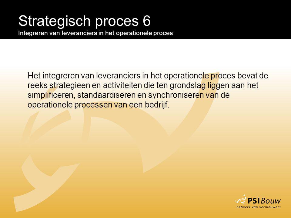 Strategisch proces 6 Integreren van leveranciers in het operationele proces Het integreren van leveranciers in het operationele proces bevat de reeks