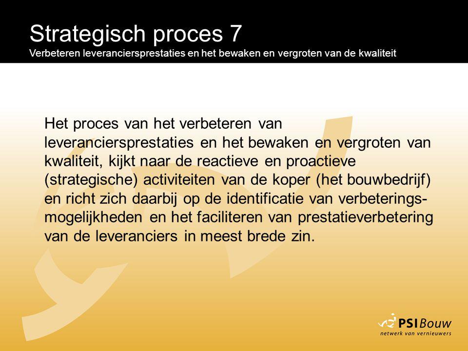 Strategisch proces 7 Verbeteren leveranciersprestaties en het bewaken en vergroten van de kwaliteit Het proces van het verbeteren van leverancierspres