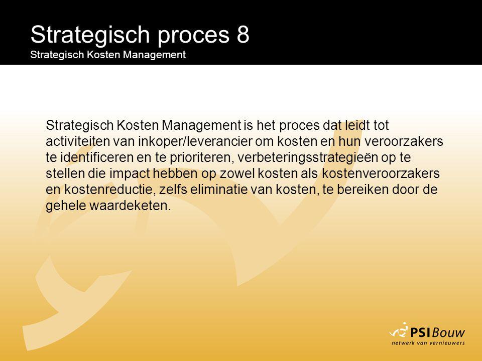 Strategisch proces 8 Strategisch Kosten Management Strategisch Kosten Management is het proces dat leidt tot activiteiten van inkoper/leverancier om k