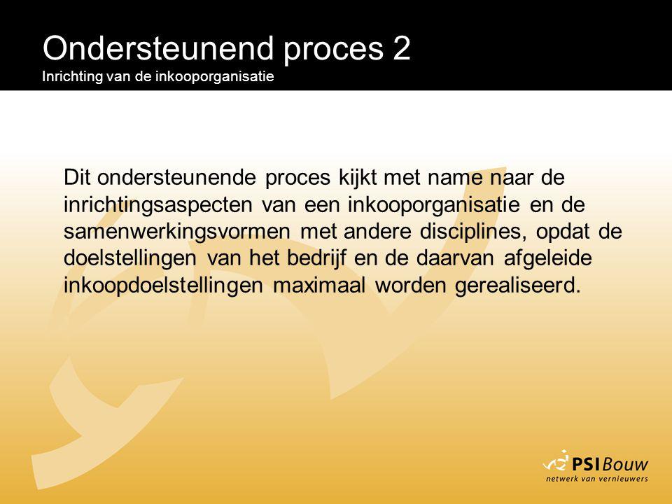 Ondersteunend proces 2 Inrichting van de inkooporganisatie Dit ondersteunende proces kijkt met name naar de inrichtingsaspecten van een inkooporganisa