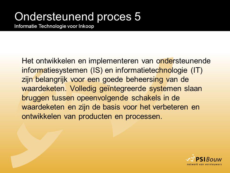 Ondersteunend proces 5 Informatie Technologie voor Inkoop Het ontwikkelen en implementeren van ondersteunende informatiesystemen (IS) en informatietec