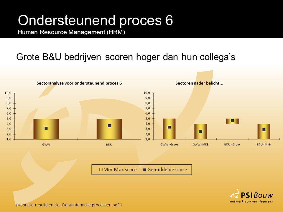 """Ondersteunend proces 6 Human Resource Management (HRM) (Voor alle resultaten zie """"Detailinformatie processen.pdf"""") Grote B&U bedrijven scoren hoger da"""