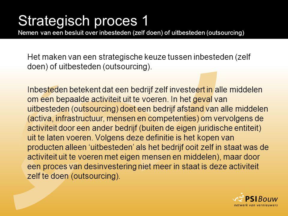 Strategisch proces 1 Nemen van een besluit over inbesteden (zelf doen) of uitbesteden (outsourcing) Het maken van een strategische keuze tussen inbest