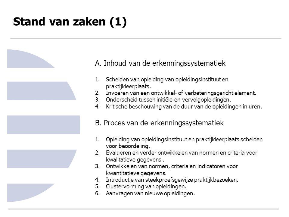 Stand van zaken (1) A. Inhoud van de erkenningssystematiek 1.Scheiden van opleiding van opleidingsinstituut en praktijkleerplaats. 2.Invoeren van een