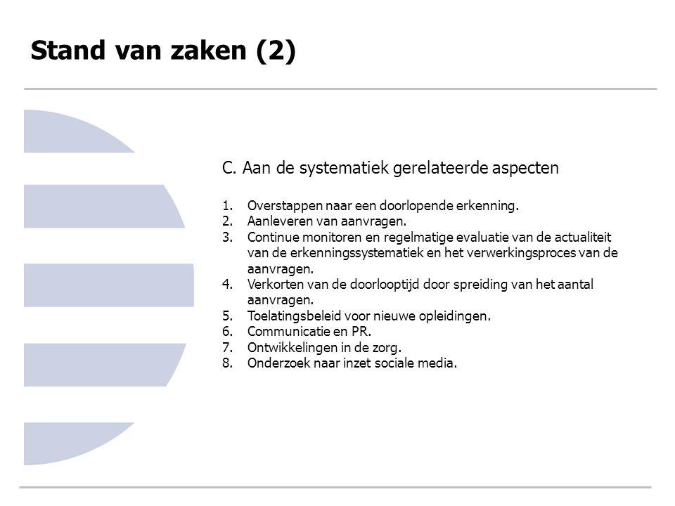 Stand van zaken (2) C. Aan de systematiek gerelateerde aspecten 1.Overstappen naar een doorlopende erkenning. 2.Aanleveren van aanvragen. 3.Continue m