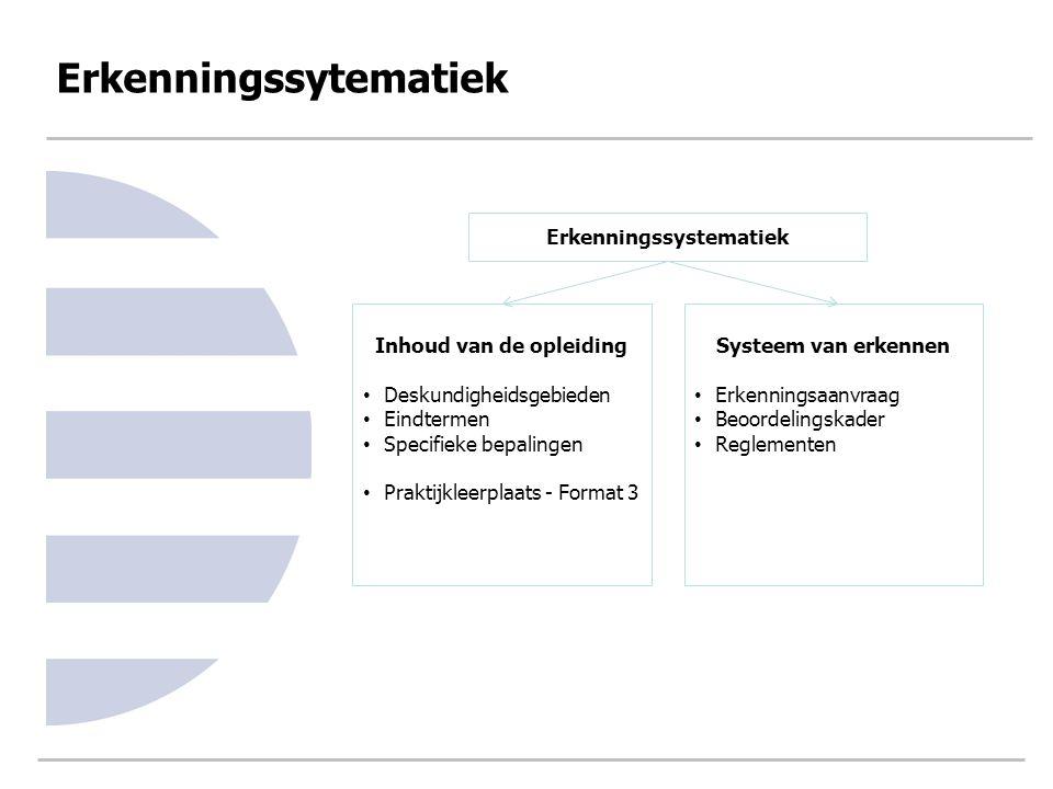 Erkenningssytematiek Erkenningssystematiek Inhoud van de opleiding Deskundigheidsgebieden Eindtermen Specifieke bepalingen Praktijkleerplaats - Format