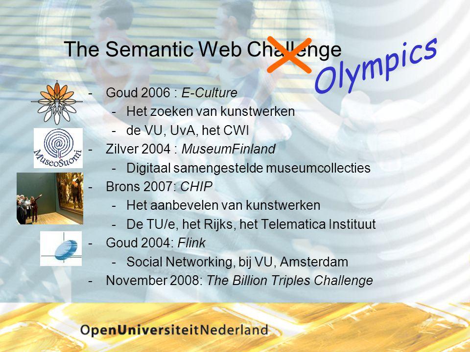 The Semantic Web Challenge Goud 2006 : E-Culture Het zoeken van kunstwerken de VU, UvA, het CWI Zilver 2004 : MuseumFinland Digitaal samengestelde museumcollecties Brons 2007: CHIP Het aanbevelen van kunstwerken De TU/e, het Rijks, het Telematica Instituut Goud 2004: Flink Social Networking, bij VU, Amsterdam November 2008: The Billion Triples Challenge X Olympics