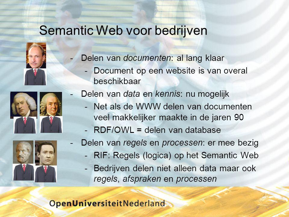 Semantic Web voor bedrijven Delen van documenten: al lang klaar Document op een website is van overal beschikbaar Delen van data en kennis: nu mogelijk Net als de WWW delen van documenten veel makkelijker maakte in de jaren 90 RDF/OWL = delen van database Delen van regels en processen: er mee bezig RIF: Regels (logica) op het Semantic Web Bedrijven delen niet alleen data maar ook regels, afspraken en processen
