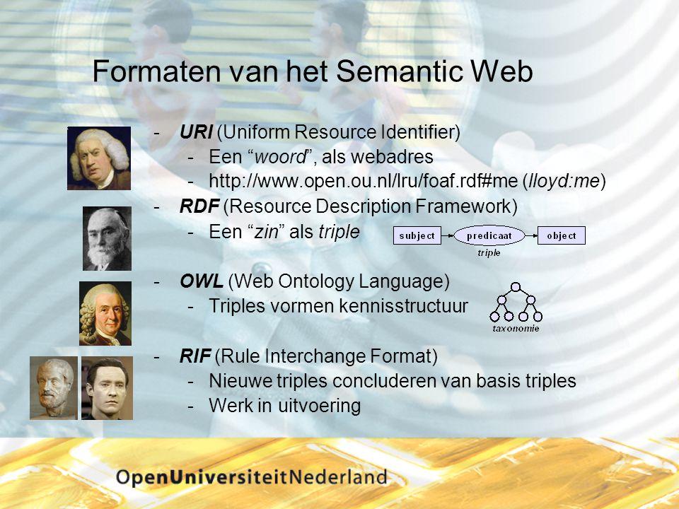 Formaten van het Semantic Web URI (Uniform Resource Identifier) Een woord , als webadres http://www.open.ou.nl/lru/foaf.rdf#me (lloyd:me) RDF (Resource Description Framework) Een zin als triple OWL (Web Ontology Language) Triples vormen kennisstructuur RIF (Rule Interchange Format) Nieuwe triples concluderen van basis triples Werk in uitvoering