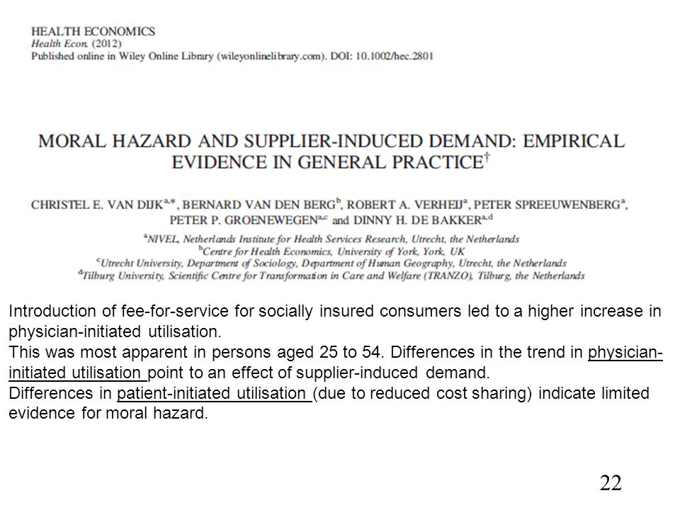 Introduction of fee-for-service for socially insured consumers led to a higher increase in physician-initiated utilisation. This was most apparent in
