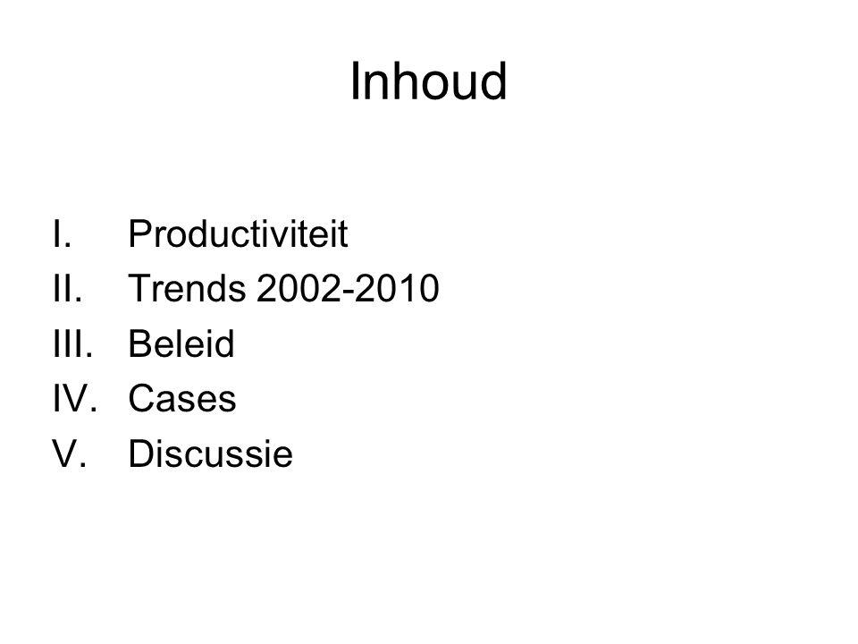 Inhoud I.Productiviteit II.Trends 2002-2010 III.Beleid IV.Cases V.Discussie