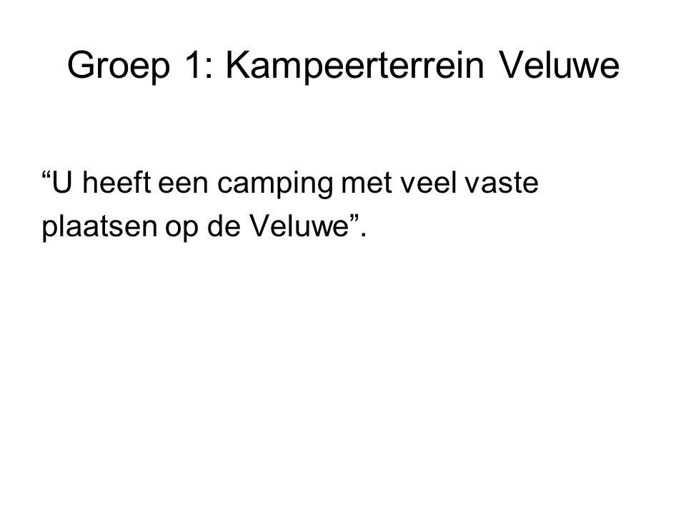 Groep 1: Kampeerterrein Veluwe U heeft een camping met veel vaste plaatsen op de Veluwe .