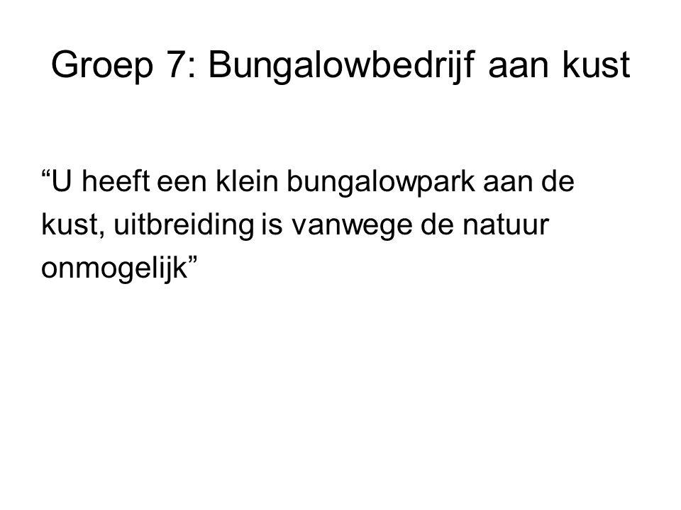 Groep 7: Bungalowbedrijf aan kust U heeft een klein bungalowpark aan de kust, uitbreiding is vanwege de natuur onmogelijk