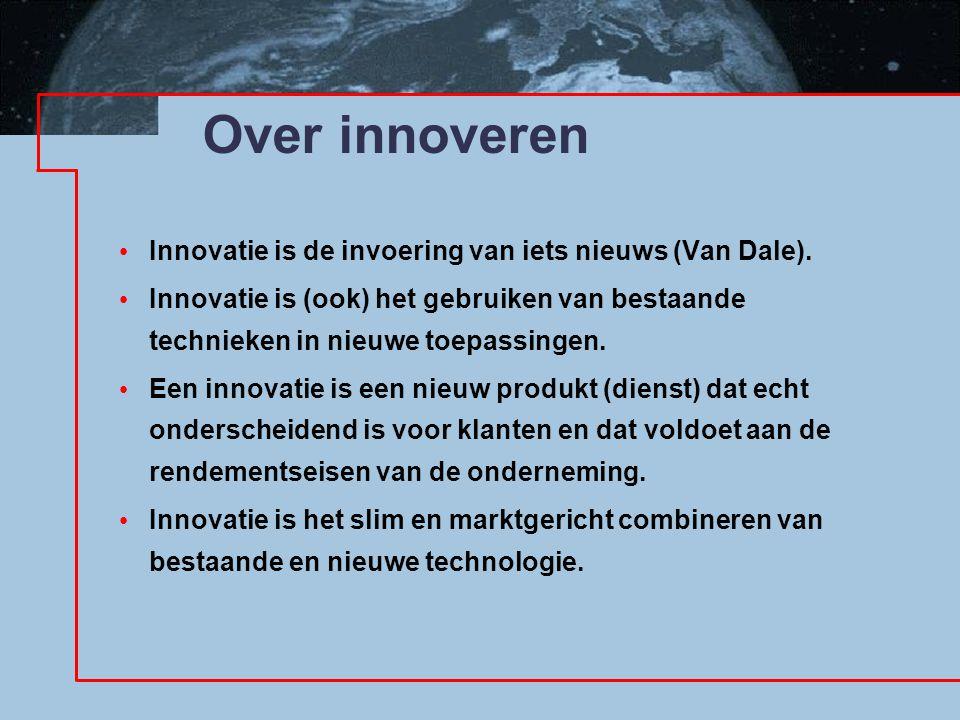 Over innoveren Innovatie is de invoering van iets nieuws (Van Dale). Innovatie is (ook) het gebruiken van bestaande technieken in nieuwe toepassingen.