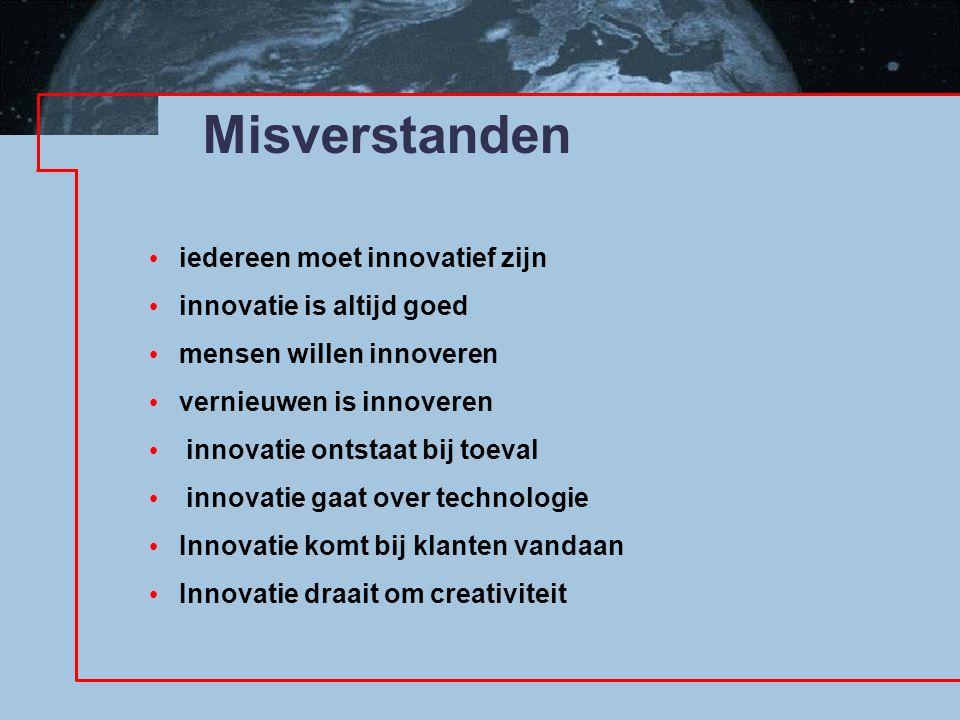 Misverstanden iedereen moet innovatief zijn innovatie is altijd goed mensen willen innoveren vernieuwen is innoveren innovatie ontstaat bij toeval innovatie gaat over technologie Innovatie komt bij klanten vandaan Innovatie draait om creativiteit