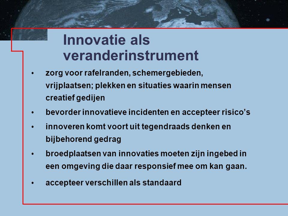 Innovatie als veranderinstrument zorg voor rafelranden, schemergebieden, vrijplaatsen; plekken en situaties waarin mensen creatief gedijen bevorder in