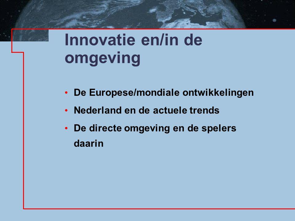 Innovatie en/in de omgeving De Europese/mondiale ontwikkelingen Nederland en de actuele trends De directe omgeving en de spelers daarin