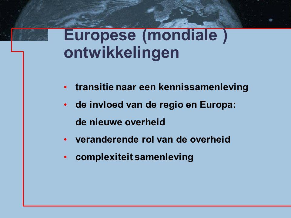 Europese (mondiale ) ontwikkelingen transitie naar een kennissamenleving de invloed van de regio en Europa: de nieuwe overheid veranderende rol van de overheid complexiteit samenleving