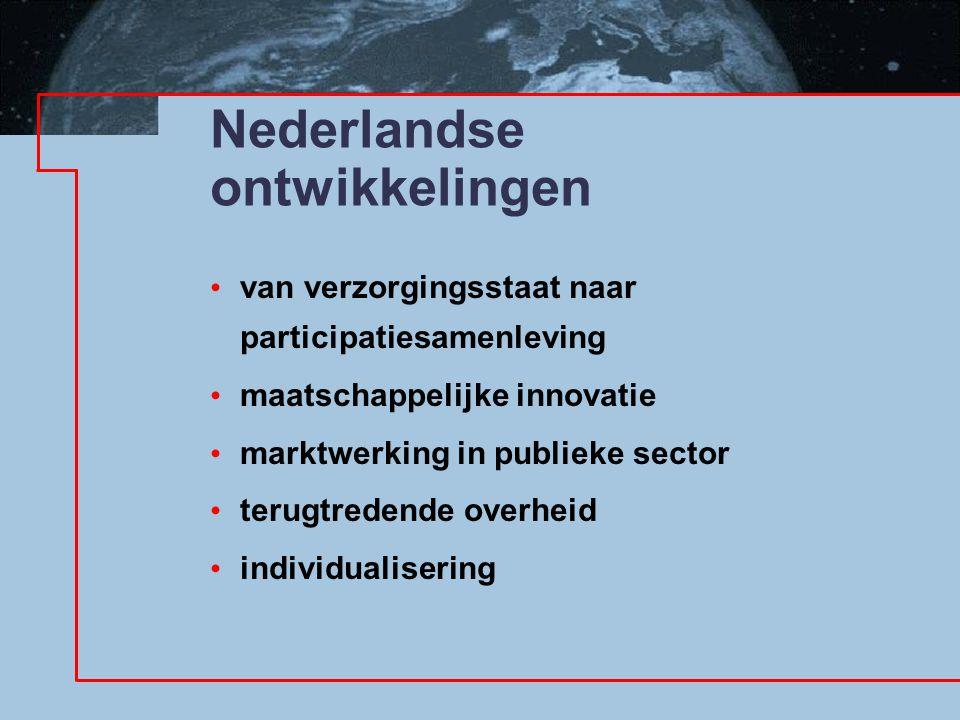 Nederlandse ontwikkelingen van verzorgingsstaat naar participatiesamenleving maatschappelijke innovatie marktwerking in publieke sector terugtredende overheid individualisering