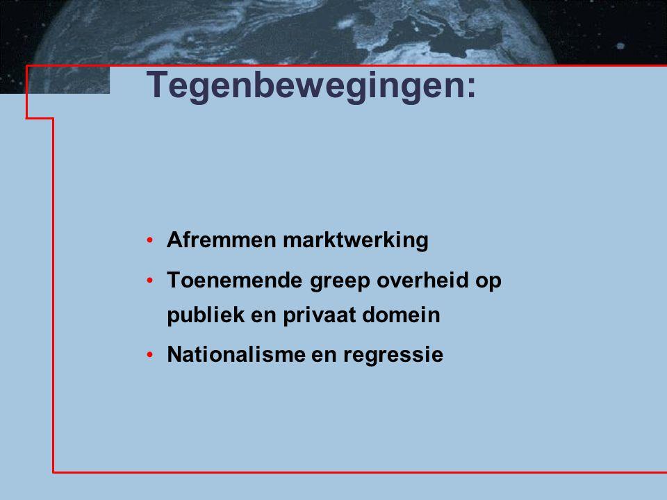 Tegenbewegingen: Afremmen marktwerking Toenemende greep overheid op publiek en privaat domein Nationalisme en regressie