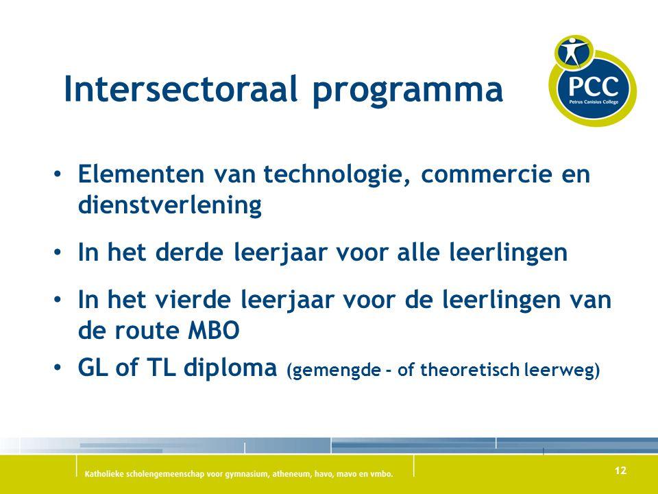 12 Intersectoraal programma Elementen van technologie, commercie en dienstverlening In het derde leerjaar voor alle leerlingen In het vierde leerjaar