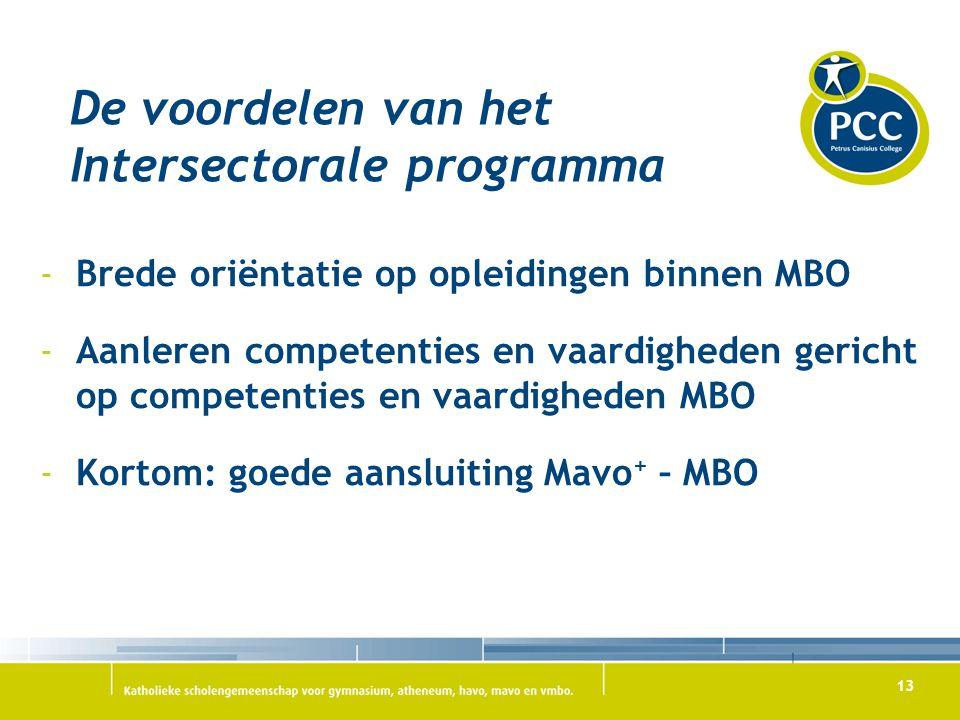 13 De voordelen van het Intersectorale programma -Brede oriëntatie op opleidingen binnen MBO -Aanleren competenties en vaardigheden gericht op compete