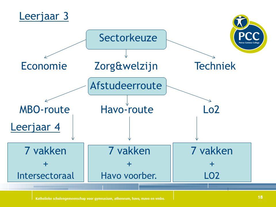 18 Leerjaar 3 Sectorkeuze TechniekZorg&welzijnEconomie Lo2Havo-routeMBO-route Afstudeerroute Leerjaar 4 7 vakken + Intersectoraal 7 vakken + Havo voor