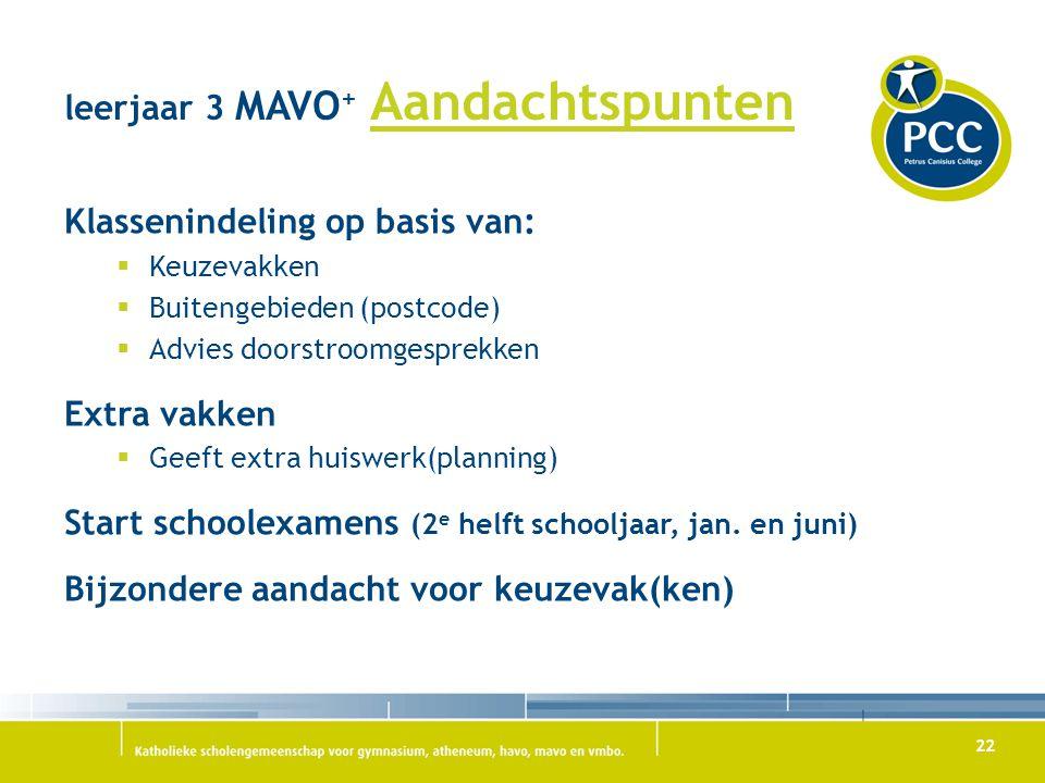 22 leerjaar 3 MAVO + Aandachtspunten Klassenindeling op basis van:  Keuzevakken  Buitengebieden (postcode)  Advies doorstroomgesprekken Extra vakke