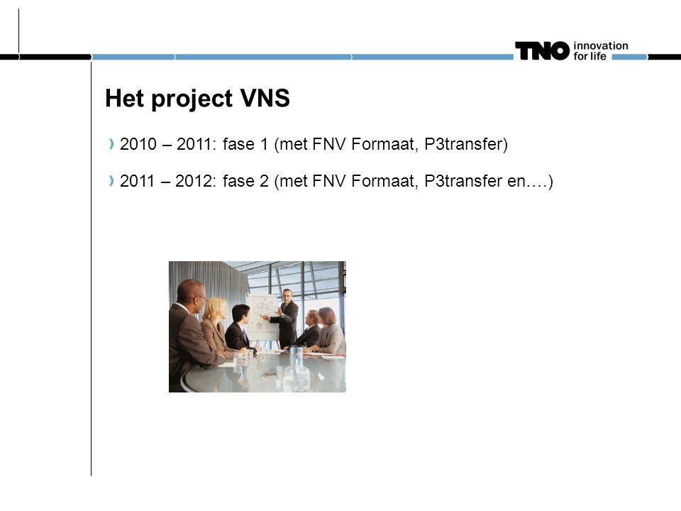Het project VNS 2010 – 2011: fase 1 (met FNV Formaat, P3transfer) 2011 – 2012: fase 2 (met FNV Formaat, P3transfer en….)